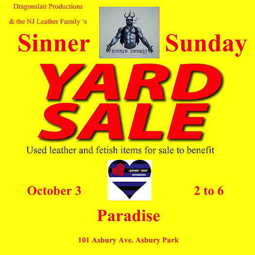 Sinner Sunday Yard Sale event flyer with yellow background and red text. Leather pride flag in a heart shape.