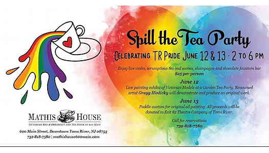 Spill The Tea Party: Pride Fundraiser event flyer with tea cup spilling out a rainbow