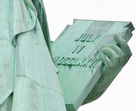 Statue of Liberty focused on the July 4th