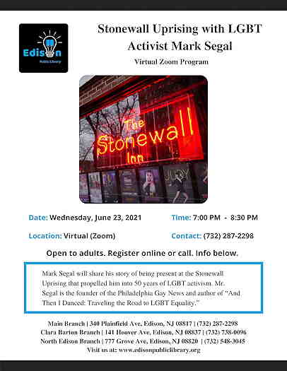 Stonewall Uprising With LGBT Activist Mark Segal event flyer with a picture of Stonewall Inn neon