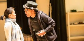 "Sue Jin Song and Frank X. in rehearsals for "" A Christmas Carol. Photo by Matt Pilsner"