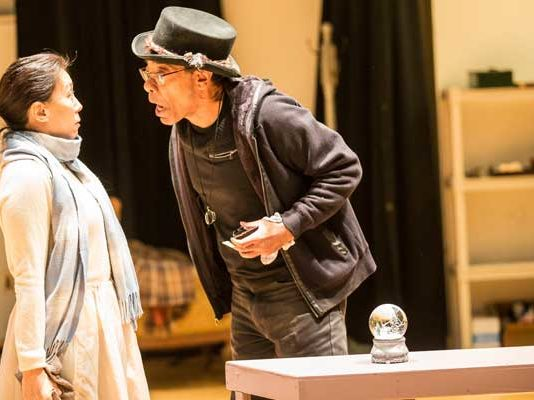 """Sue Jin Song and Frank X. in rehearsals for """" A Christmas Carol. Photo by Matt Pilsner"""