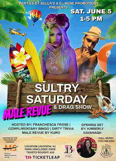 Sultry Saturday Male Revue & Drag Show event flyer with drag queens on a beach scene
