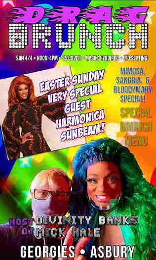 Sunday Drag Brunch flyer with Mick Hale, Divinity Banks and Harmonica Sunbeam