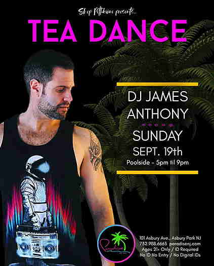 DJ James Anthony on a black background with event text.