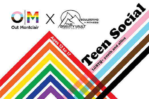 Teens Indoor Rock Climbing flyer with rainbow lines to look like a mountain top