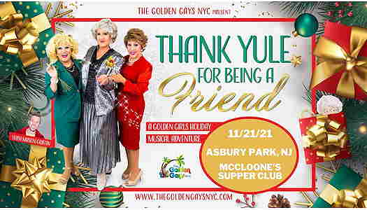 Three drag queens dressed like the Golden Girls