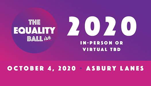 The Equality Ball-ish 2020 logo, flyer