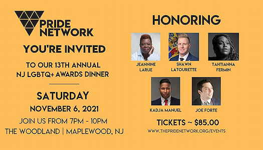 The Pride Network Awards 2021 event flyer with pictures of those being honored