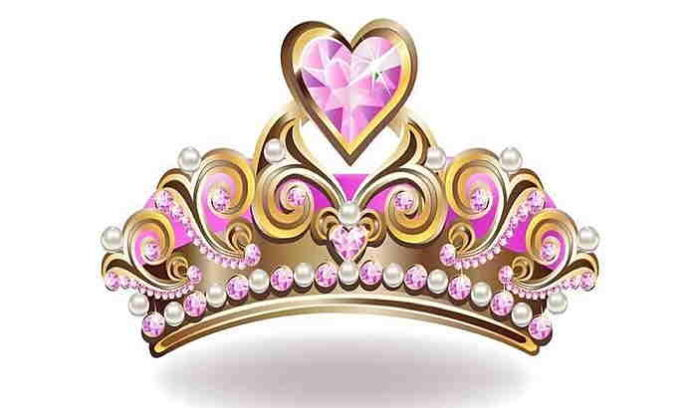 Gold crown with pink jewels image