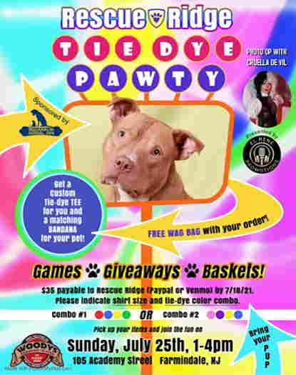 Tie Dye Pawty event flyer with a picture of a pitbull