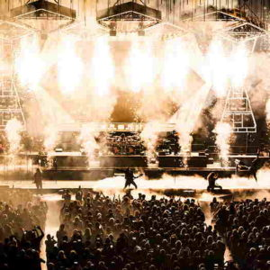 Trans-Siberian Orchestra stage with pyrotechnics