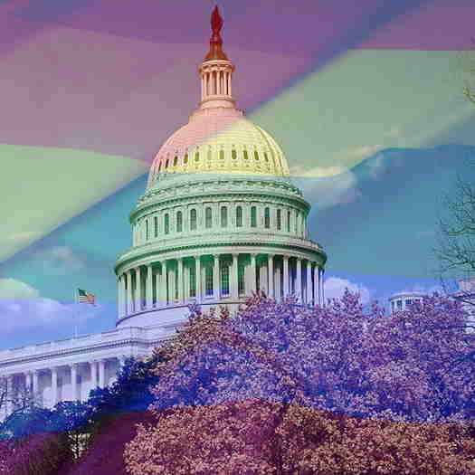The US Capitol with a transparent rainbow flag over it