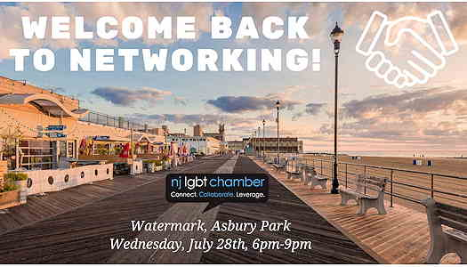 A picture of the Asbury Park boardwalk with Welcome Back to Networking written over it